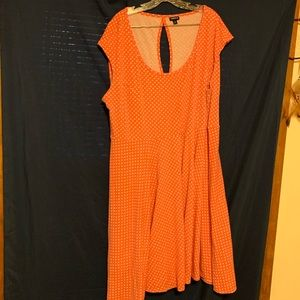 Coral swing dress, white dots, keyhole back